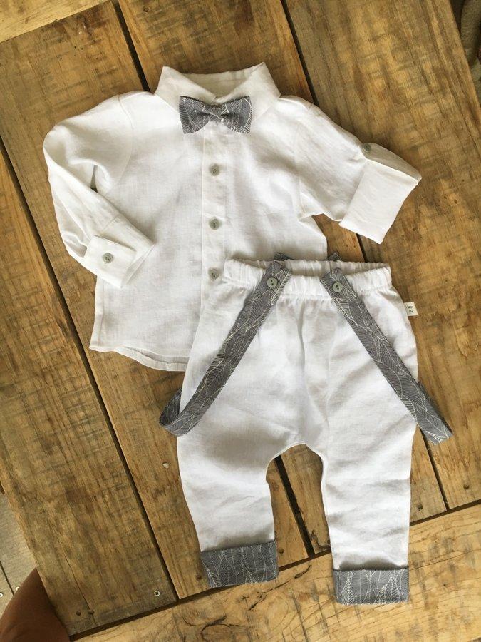 Lininis kostiumas su pilkomis detalėmis