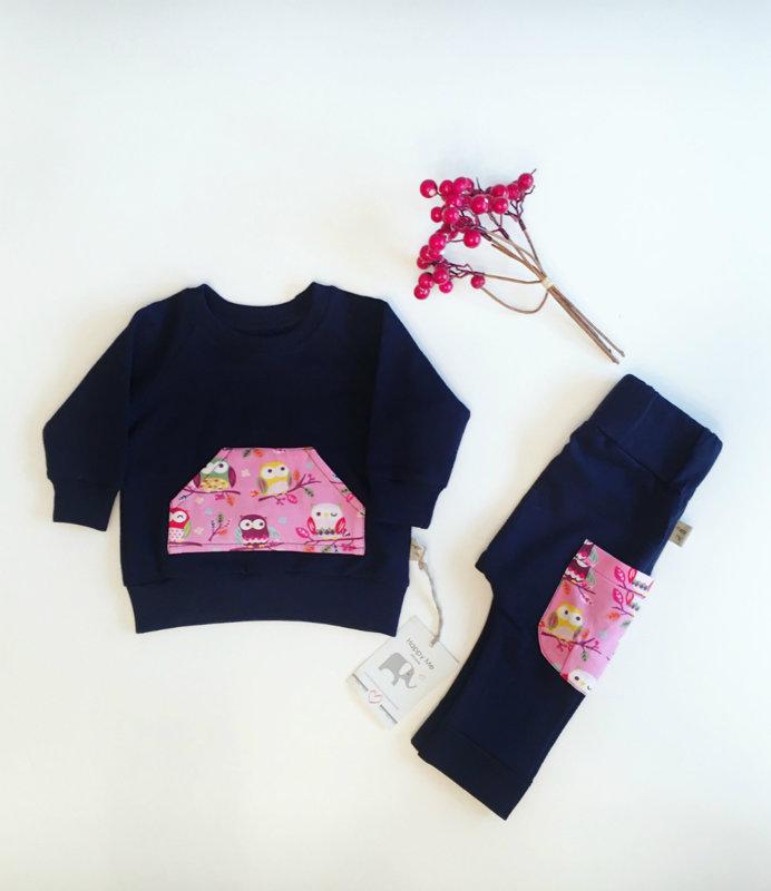 "Komplektukas mergaitėms ,,Navy Pink Owls"""