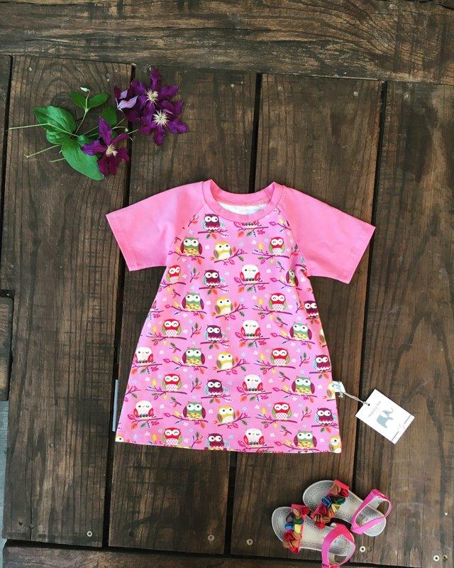 """Suknelė/tunika ,,Pink owls"""" trumpomis rankovėmis"""