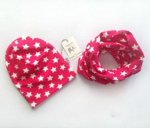 Kepurės ir movos komplektas ,,Pink star''