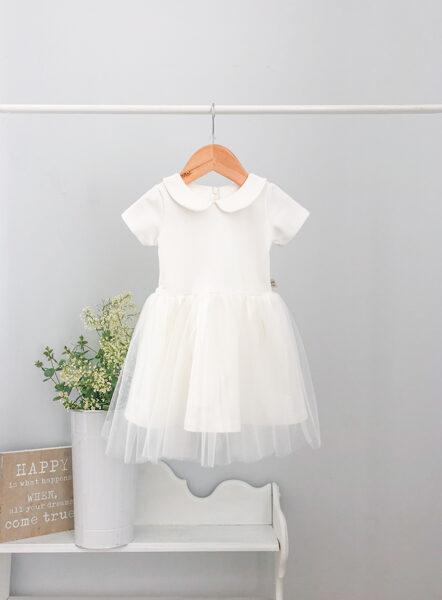 Puošni suknelė su apykakle
