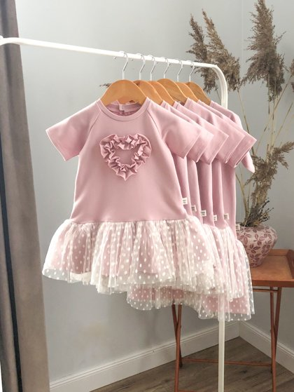 """Rožinė suknelė trumpomis rankovėmis ,,Heart"""""""