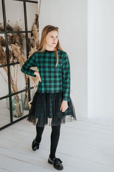 Žalia languota suknelė su tiuliu