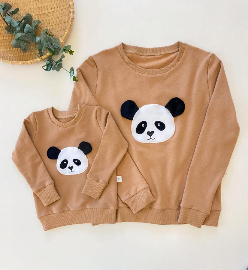 camel spalvos džemperis moterims panda